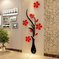 Wholesale Red Flowers Sticker - Wholesale Wall Stickers Acrylic 3D Plum Flower Vase Stickers Vinyl Art DIY Home Decor Wall Decal Red Floral Wall Sticker Colors