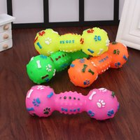 Wholesale Pet Dumbbell - Creative Evade Glue Squeaky Dog Toys Colorful Dumbbell Shaped Dog Toys Faux Bone Pet Chew Toys For Dogs WA1804