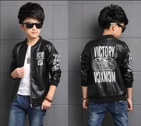 Wholesale Kids Leather Jacket 3t - 2017 autumn children's clothes boys jackets letters long sleeve PU leather boy jackets for boys big kids outerwears coats