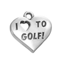 Jóias de moda DIY Antique Silver Plated Single-side Metal Heart I Love Golf Sport Charm Accessories