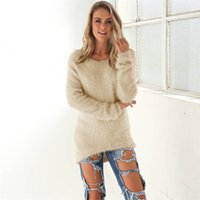 Wholesale Oversized Sweaters Wholesale - Wholesale- knitting sweaters and pullovers autumn winter woman fluffy mohair jumper tops oversized sweater casual femmes chandails et pulls