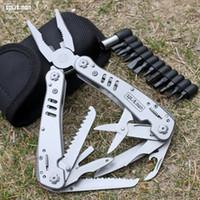 Wholesale Combination Pliers Tools - Multitool folding plier multifunctional tools pocket pliers camping outdoor survival knife EDC Tool Scissors screwdrivder bits fishing plier