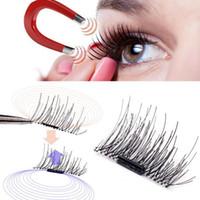 Wholesale Silk Strips - New arrival hand made silk magnet cross thick false eyelashes 3D magic reusable magnetic eyelashes