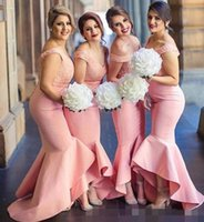 Wholesale Cheap Peach Mermaid Dresses - Pink Peach Mermaid 2017 Beach Bridesmaid Dresses V-neck Lace Satin Maid Of Honor Dresses Sexy Hi-Lo Cheap Long Formal Wedding Party Gowns
