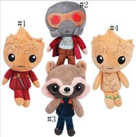 Wholesale raccoon animal - Guardians of the Galaxy Plush Toys Cartoon Groot Treeman Raccoon Stuffed Animal Movie Doll Baby Toy gifts Designs OOA1793
