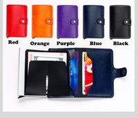 Credit Card orange wallets - Mini Wallet with Automatic Slide Card Holder Credit Card CaseOrganizer Rfid Card Protector men Wallets
