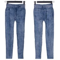 Wholesale Jeggings For Plus Size - Wholesale- Fashion Design Lady Girl Blue Faux Jean Skinny Jeggings Stretchy Slim Pants Stars Plus Size for Women Jeans Clothing