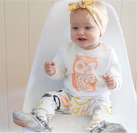 Wholesale Wholesale Performance Pants - Baby outfit children printing owl cotton white tops+ circle pattern pants 2pcs sets INS toddler kids Performance clothing T0294