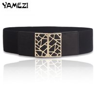 Belts Adult Knitted,PU,Faux Leather,Metal Wholesale- [YAMEZI] New decoration down jacket dress elastic wide belt women 's waist closure all-match lady's waist belt for women FT010