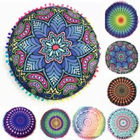 Wholesale Cushion Covers Round - 43*43cm Round Cushion Pillow Covers Mandala Meditation Floor Pillows Cover Indian Tapestry Bohemian Pouf Throw Round Cushion Cover WX-P14