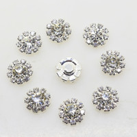 Wholesale Diy Decoration Accessories - 100pcs 12mm Flower Metal Wedding Rhinestone Embellishments Button Flatback Buckle Diy Accessories Wedding Decoration