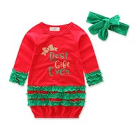 Wholesale Good Day Baby - Flower Girls Dresses Christmas Long Sleeve Cotton With Headwear Cute Letter Printed Good Quality Baby Clothing