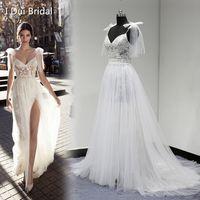 Wholesale Dress Slit Leg - 2017 New Style Real Photo Wedding Dress Spaghetti Bow Tie Strap A line Tulle Exquisite Lace Romantic Unique Design Split Leg