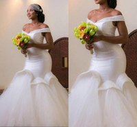 Wholesale Arab Embroidery - Elegant Africa Mermaid Wedding Dresses Sexy Beads Off the Shoulder Ruffle Tulle Satin Arab Bridal Gowns Sweep Train Lace-up Custom Made 2017