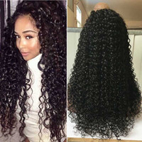 Wholesale American Curls Hair - BlackPearl hair Lace Wig Short Afro Kinky Curly Brazilian Human Hair Afro Kinky Curl Lace Front Wig for African American