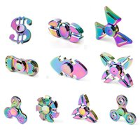 Wholesale Creative fashion relieve pressure bright colorful brass decompression finger aluminum alloy fidget spinner