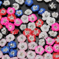 Wholesale Nail Art Ceramic Flower - 20Pcs 6 Color Ceramic Flower Rhinestones Nail Art Tips Design DIY Decorations 3D