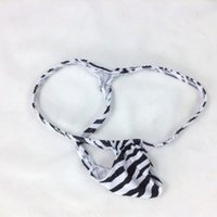Wholesale White Swimsuit Xs - Mens Thong Bulge Pouch T-back Grape Smugglers G4034 black white Zebra prints swimsuit fabric new style Fashion