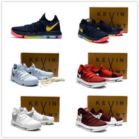 Wholesale Stretch Fabric Womens Shoes - 2017 Hot Sale KD 10 Kids Womens Mens Basketball Shoes for Kevin Durant Children KD X EP Airs Cushion Sports Sneakers Youth Children's 36-46