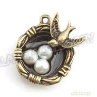 Wholesale Bird Necklace Nest - Wholesale- New Design 24pcs lot Alloy Bird&Egg Nest Shape Charms Antique Bronze Plated Pendant Fit Necklace DIY 24x19x8mm 143897