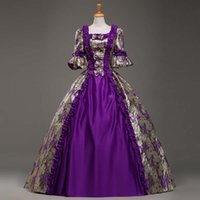 Wholesale Bell End - Custom High-end Purple Jacquard Retro Palace Victorian Dress Renaissance Southern Victorian Belle Marie Antoinette Ball Gowns