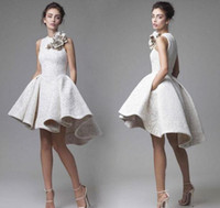 Wholesale Flower Cocktail Dress - 2017 Krikor Jabotian Lace Short Cocktail Dress Short Front Long Back with Flower Decorations High Low Short Prom Homecoming Dress