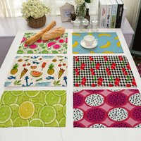 Placemat Table Mat Cute Fruit Impresso para mesas Christmas 42x32cm / 17x13 '' Linen Kitchen Dining Pads Heat-insulation