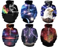 Wholesale Winter Hoodies Hat - New 2017 fashion Galaxy men women's fall Autumn winter pullover hoodies sweatshirt Long Sleeve Hoodies 3D print With Hat Plus Size