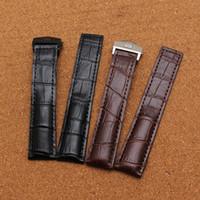 Wholesale Silver Thread Bracelet - High Quality 20mm 22mm New Black Genuine Leather Watchband Watch Band Strap Bracelet With Black thread silver stainless steel deployment