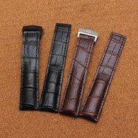 verschraubte uhren großhandel-Hohe Qualität 20mm 22mm New Black Armband aus echtem Leder Uhrenarmband mit schwarzem Faden Silber Edelstahl Einsatz