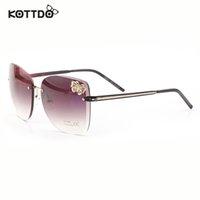 Wholesale Exclusive Sunglasses - Wholesale-2015 Moda Exclusive Butterfly Embellishment Metal Big Rimless Frame Sunglasses Women's UV400 Protection oculos de sol masculino