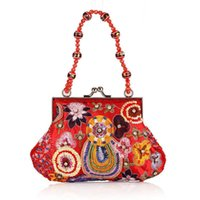 Wholesale Wholesale Beaded Handbags - Wholesale- 2017 new bag women's handbags brands evening bags Luxury handbag moonlight flower beaded bag Arts and crafts package Beautiful
