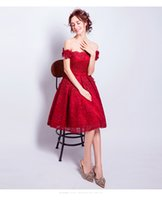 Acheter 14 bateau-SSYFashion Nouvelle Robe De Cocktail De Fleur De Dentelle Rouge The Bride Married Banquet Broderie Bateau à col Genou Longueur Formal Party Gown