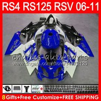 Wholesale 125 Fairing - Body For Aprilia RS4 RSV125 RS125 06 07 08 09 10 11 RSV 125 70NO38 top Blue white RS125R RS-125 RS 125 2006 2007 2008 2009 2010 2011 Fairing