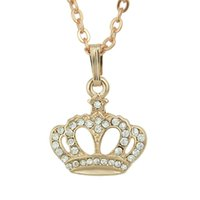 Wholesale Gold Plated Crown Charms - Latest Design Crown Shape Pendant Necklace Rose Gold Color Elegant Necklace Bisuteria Joyeria For Women's Gift Accessories Para Mulher