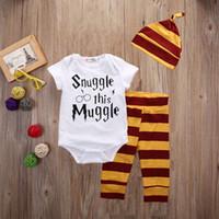 Wholesale Harry Potter Suits - 3PCS Newborn Baby Boys Top Romper Pants Leggings Hat Striped Harry Potter Outfit Set Cotton Clothes Snle This Mle 3-18M Wholesale Suit