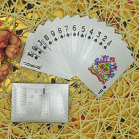 Wholesale High Quality Plastic Playing Cards - High Quality Waterproof Plastic US $100 Silver Foil Poker Home Decoration Arts Crafts 24K Gold-Foil Plated Playing Cards Poker Table Games