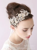 Wholesale Bronze Headband - Fashion Rhinestone Flower Headpiece Wedding Hair Accessories Special Occasion Headbands Bridal Headband Tiara Headwear Bridal Real Picture