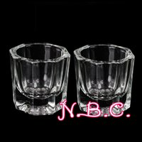 Wholesale Arcylic Cups - Wholesale- 2PCS lot Glass Crystal Bowl Cup Dappen Dish Arcylic Solution Cup Nail Art Product Tool Free Shipping Wholesale