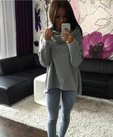 Wholesale Women Loose Grey Sweatshirts - Women Irregular Hoodies Sweatshirts Shawl Scarf Collar Sweatshirt Women Casual Pullovers Red Black Grey 3 Colors