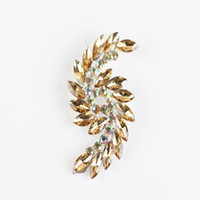Wholesale wedding womens clothing - New High-grade Fashion Womens Corsage Brooch Crystal Wings Brooch Pin Clothing Ornaments Wholesale Free Shipping 6 Colors