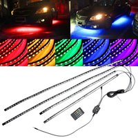 Wholesale Under Car Led Neon Lights - DC12V 4x Waterproof RGB 5050 SMD Flexible LED Strip Under Car Tube Underglow Underbody System Neon Light Kit With Remote Control