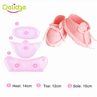 Wholesale Fondant Birthday Cakes - Delidge 3 pcs Set Baby Birthday Shoes Cake Mold Plastic Shoes Shape Fondant Mold Baby Bootie Cutter Candy Decoration Mold