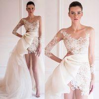 Wholesale Chiffon Long Floral Skirt - Asymmetric Two-Piece Wedding Dresses Detachable Train Long Sleeve Sheer Neckline Lace Applique Bridal Wedding Dress Mermaid 2017 Knee Length