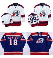 Wholesale wha hockey jersey - Custom WHA Indianapolis Racers Mens Womens 99 Wayne Gretzky 18 Brian Coates White Blue Custom Any name Any NO.Ice Hockey Cheap Jerseys