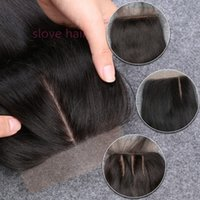 Wholesale Side Part Closures - 8A Quality Malaysian Straight Silk Base Closure,4x4 100 Human Virgin Silk Base Closure,Free Middle Three Side Part Silk Closures