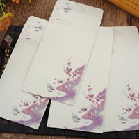 Wholesale Envelopes For Greeting Cards - 12 Style Chinoiserie Flower Envelope Elegant Storage Envelope For Postcards Blessing Cards Gift Greeting Card 10pcs color bag