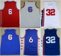 Wholesale Black Star Shirt - Hottest Throwback 32 Dr J Julius Erving Jerseys Uniforms For Sport Fans All Star 6 Julius Erving Shirt Sports Breathable Home Blue Red White