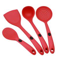 mutfak gereçleri toptan satış-4 adet / takım Kırmızı Siyah Silikon Mutfak Takım Değil Yapışkan Pot Isıya Dayanıklı Kürek Kaşık Pişirme Gereçleri Stokta WX-C79