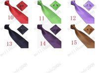 Wholesale Orange Silk Handkerchief - Free shipping Men's Tie Cuff Links Handkerchief Set 100% SILK (Tie + Cufflink + Handkerchief Set ) New Christmas Gift MYY2688A